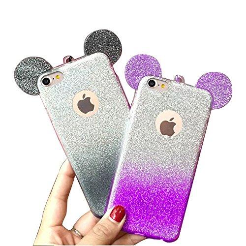 MOMDAD iPhone 7 Coque Strass Diamant Case iPhone 7 Transparent Coque iPhone 7 TPU Silicone Coque pour iPhone 7 4.7 Pouces Souple Coque téléphone portable Case iPhone 7 Motif Coque Housse iPhone 7 Etui Gradient-Purple