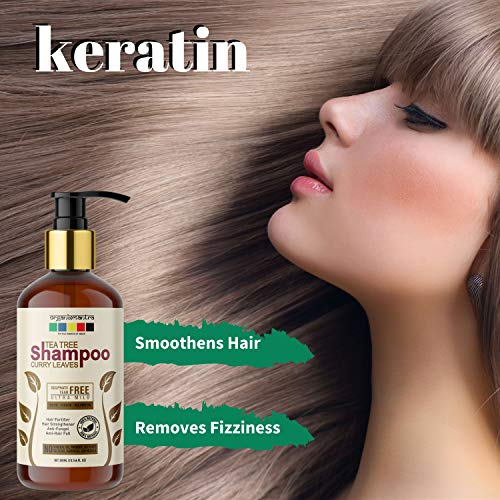 Organix Mantra Tea Tree & Curry Leaves Premium Hair Growth Biotin, Keratin, Pea Protein, Ultra Mild Shampoo, No Sulphates, No Parabens 300ML