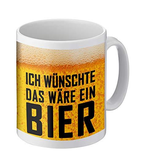 PHRASE 1 by FotoPremio Tasse mit lustigem Spruch | Ich wünschte das wäre EIN Bier | Kaffeetasse beidseitig Bedruckt | Geschenkidee für Freunde, Familie oder Lieblingskollegen