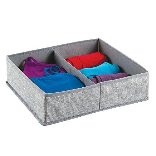 mDesign Stoffbox für Schrank oder Schublade, 2 Fächer – die ideale Aufbewahrungsbox (Stoff) – flexibel verwendbare Stoffkiste – Farbe: grau (Kleiderschrank Boxen)