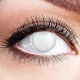 Farbige Kontaktlinsen Motivlinsen Weiß Ohne Stärke mit Motiv Weiße Fun Linsen für Halloween Karneval Party Fasching Cosplay Kostüm Blind White