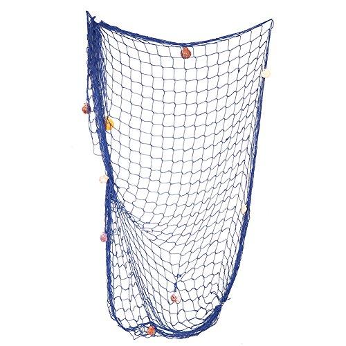 Mediterraner Fischernetz Dekoration, Chris. W Fischnetz mit Seashell Decor, Nautical Party Dekorationen, blau 150x200cm blau