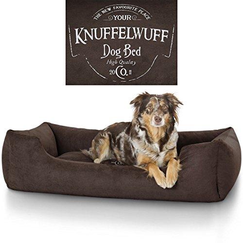 Harten Hund Großen Bett (Knuffelwuff 13968-007 Hundebett Liam mit Vintage Aufdruck, XXL, 120 x 85 cm, braun)