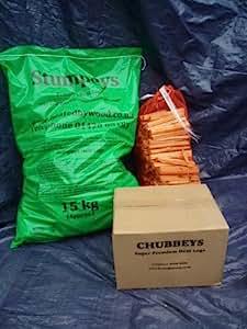 Heat Logs: Warm & Cosy Fuel pack (28kg) 1 x Box of Chubbeys, 1 x Bag of Stumpeys Heat Logs + Bag of Kindling