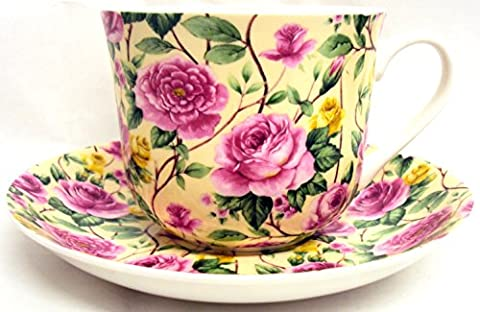Garden Roses Breakfast Cup & Saucer Fine Bone China Large Roses Cup & Saucer Set Hand Decorated in the U.K. Free UK