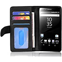 Cadorabo - Funda > Sony Xperia Z5 < Book Style de Cuero Sintético en Diseño Libro – Etui Case Cover Carcasa Caja Protección con Tarjetero in NEGRO-ÓXIDO