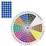 2cm Runde Punktaufkleber Farbkodierung Etiketten Markierungspunkte - 10 verschiedene Farben, 2000 Stück