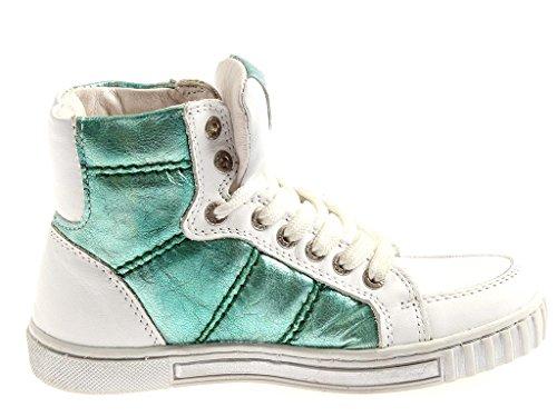 Innocent hohe Sneaker Knöchelschuhe aus Leder Hi Top Sneaker zweifarbig 713-A Weiß-Grün