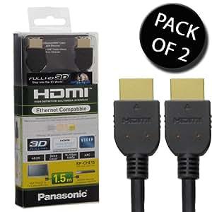2x Panasonic RP-CHE15E-K HDMI Ethernet Video Cable 1.5m - Black