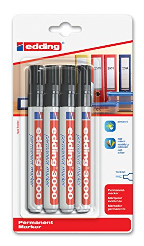 Preisvergleich Produktbild edding 3000 Permanentmarker (zur Beschriftung und Markierung von fast allen Oberflächen) - schwarz - 4er Blisterkarte - nachfüllbarer, wasserfester und lichtbeständiger Marker - Strichbreite: 1,5 - 3mm