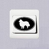 Zjuki Wall Sticker 4pcs Shetland Sheepdog Vinyl Decal Reflective Switch Stickers