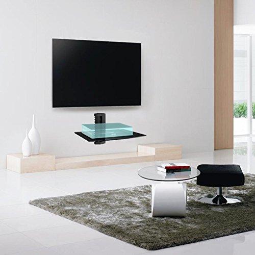 confronta il prezzo Suptek Mensola galleggiante nera singola con vetro temperato rinforzato per lettori DVD / cavi di cavo / console per videogiochi / accessori per TV 1 ripiano, nero CS201 miglior prezzo