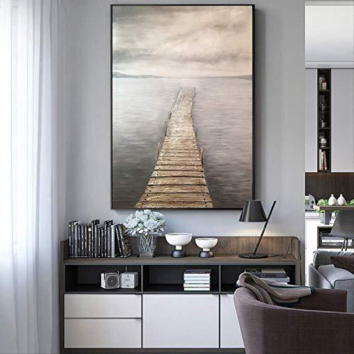 NOVELOVE Wand-Kunst-Bild Von Hand Bemalt Holz Brücke Landschaft Poster Drucken Leinwand Malerei Ohne Rahmen 30x45cm -