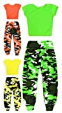 jolly rascals Girls Crop Top and Camo Harem Set Viscose Crew Neck - Short Sleeves - Camouflage - All Seasons