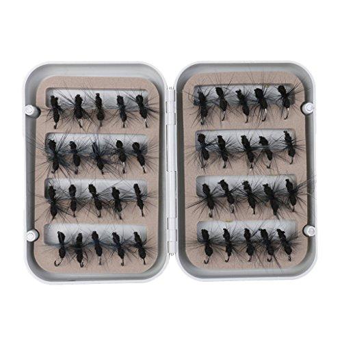 sharplace 40Stück Fly Angelköder Set künstliche Insekten Kunstköder Forelle Fliegen Widerhaken Haken mit Fall Box rot/schwarz Ant Köder, schwarz