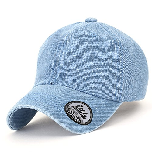 Ililily Vintage Washed Denim Cotton Baseball Cap Solid Color Casual Trucker Hat