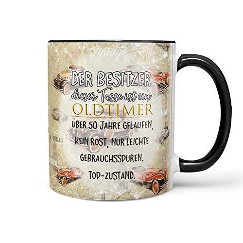 Sunnywall Fun Tasse mit Oldtimer Spruch zum 50. Geburtstag Kaffeetasse (50. Geburtstag) inkl. gratis Geschenkkarte