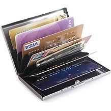 Teemzone Tarjeteros Metálicos Tarjetero de Crédito Aluminio Tarjeta de Vista Caja de Tarjeta de Espejo de Acero Inoxidable