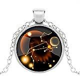 Dunbasi 12 Sternzeichen Kette Sternbilder Horoskop Anhänger Nachtleuchtend Schmuck Glas Cabochon Silber Halskette für Damen/Herren Geschenk (Löwe)