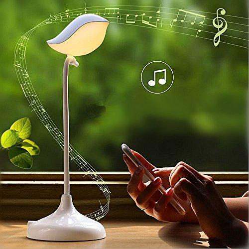 Elinkume® NEU Design LED Musik Tischlampe mit Touch-Dimmer, 3 Helligkeiten und 1 Nachtlicht, Dimmbar,Die drahtlose Bluetooth-Verbindung,tragbar und 360° flexibel mit USB Aufladung, Schreibtischlampe für Kinder, Tischleuchte, Leselampe, Buchlampe (Warmweiß Nachtlicht)