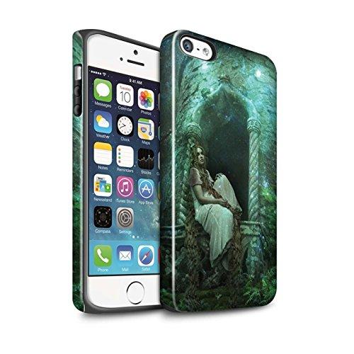 Officiel Elena Dudina Coque / Brillant Robuste Antichoc Etui pour Apple iPhone SE / Princesse Design / Caractère Conte Fées Collection Cheveux Dorés