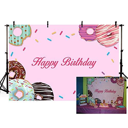 EdCott 7x5ft Donut Motto Happy Birthday Party Rosa Mädchen Dekoration Fotostudio Hintergrund Banner Fotografie Kulissen Requisiten Baby Shower Hochzeit Fotostudio Booth Hintergrund