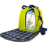 EarthVibe Combo Lunch Tote Bag Free Mat Insulated Zipper Handle Waterproof Bottle Holder-Green
