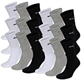 18 pair Puma Sport Socks Tennis Socks Gr. 35 - 49 Unisex, Farben:325 - white/grey/black, Socken & Strümpfe:39-42
