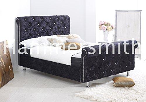 4FT6Chesterfield slitta letto di design con rivestimento in velluto (nero, in ciniglia, PVC in pelle o in velluto) Black