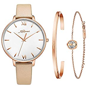 Kaifanxi Women Classic Ultra-Thin Analog Quartz Watch Simple White Dial with Roman Numbers Rose Gold Stainless Steel Case Genuine Leather Strap