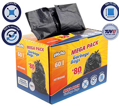 Sacchi della spazzatura da 60 litri (80 pezzi) in pellicola HDPE 75 x 58 cm, 100% riciclabili