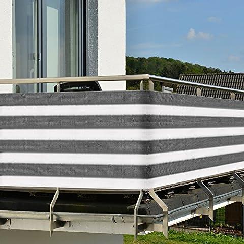 Brise-vue pour balcon - terrasse - Paravent - avec fixation - Résiste aux UV - 3,0x0,9m - Gris