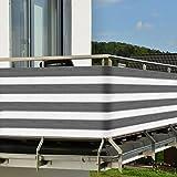 Brise-vue pour balcon - terrasse - Paravent - avec fixation - Résiste aux UV - 3,0x0,9m - Gris Blanc