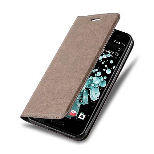 Cadorabo Hülle für HTC U Play - Hülle in Kaffee BRAUN – Handyhülle mit Magnetverschluss, Standfunktion und Kartenfach - Case Cover Schutzhülle Etui Tasche Book Klapp Style