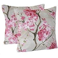 COPPIA FEDERE decorativi rosa cuscino Designer tessuto modello fiori di