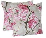 Paar Dekorative Kissen Rosa Kissenbezug Designer Gewebe Muster Kirschblüten 40cm x 40cm