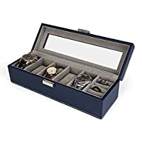 Amzdeal Watch Box Leather 6 Grids Display Case Jewelry Box (Ring Box) Windowed for Wrist Watches/Rings/Earrings/Necklace