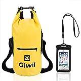 Giwil 10L 20L 30L Premium Waterproof dry Bag, Roll Top Dry Compression Sack Waterproof Phone dry Bag Case Dual Long Adjustable Shoulder Strap Included Foldable Backpack Kayaking Boating Canoeing