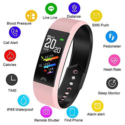 LIGE Smartes Armband IP68 Wasserdichter Fitness Tracker zum Schwimmen mit Pulsmesser Schrittzähler Schlaf Monitor Kamera Kalorienzähler Sport Armband, Bluetooth Smartwatch für Android iOS