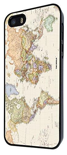 178-Cool Fun World Map The World Look Coque iPhone 44S Design Fashion Trend Case Back Cover Métal et Plastique-Noir