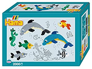 Hama 10.3507 - Juego de Cuentas de Mosaico con diseño de Delfines del Mundo (tamaño pequeño), Color Rojo