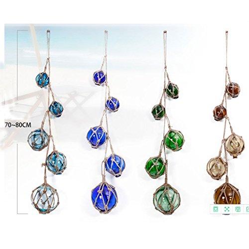 Klassische Glas Float Ornamente, kreative Seile mediterranen Stil Wandschmuck, (Farbe : Braun, größe : Five balls 70-80 cm)