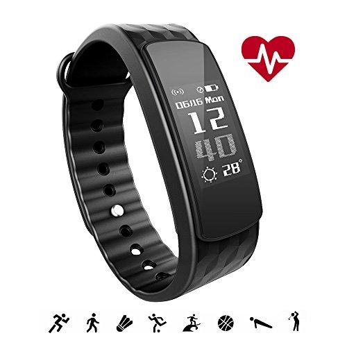 iWOWNfit Fitness Tracker i6 HR ergonomisch Wasserdicht Bluetooth Armbänder mit Aktivitätstracker Schrittzähler Pulsmesser Schlafanalyse Kalorienzähler Kamerabedienung Vibrationswecker für iOS Android