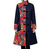 SEWORLD Winterjacke Steppjacke Mantel Damen Heißer Einzigartiges Design Folk-Custom Drucken Buttons Baumwolle Outwear Warme Lange Dicke Jacke Parka(X4-schwarz,EU:36-40/CN:M)