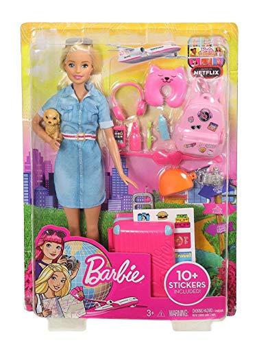 Barbie in Viaggio, Bambola Bionda con Cucciolo, Valigia che si Apre, Adesivi e Accessori,...