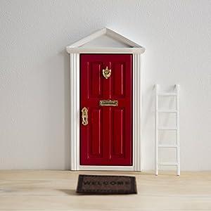 Ratoncito Pérez: Puerta Mágica Roja + Pequeña Llave + Postal de Felicitación + Dibujo para colorear + pequeño felpudo + plantilla para las huellas + pequeña escalera de Puertadelratoncitoperez.com