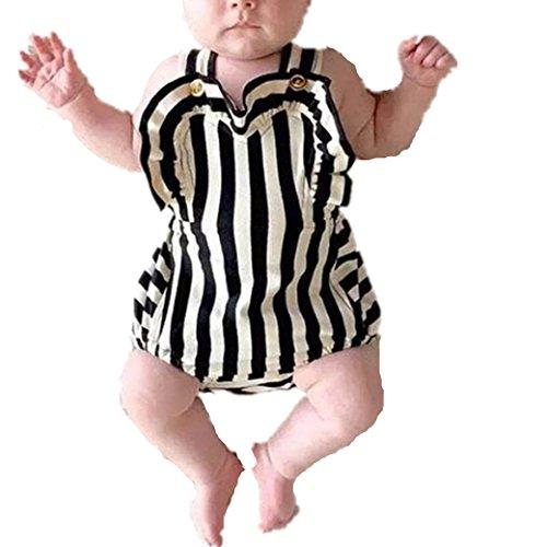 Bekleidung Longra Neugeborene Kleinkind Baby Mädchen Kleider Ohne Arm Streifen Bodysuit Spielanzug Strampler Overall Outfits Sommerkleidung für Baby(0 -24 Monate) (90CM 12-18Monate, Black)