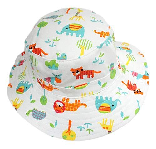 Generic Baby Jungen Mädchen Baumwolle Weiß Tiere Zoo Eimer Cowboy Sun Hut mit Kinnriemen - Weiß, Age 3-6 (Head Size 52-53cm)