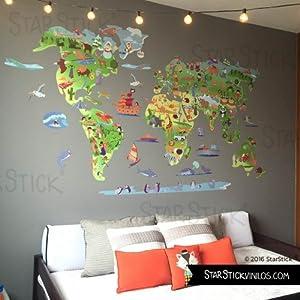 StarStick – Mapa mundi de dibujos 100×60 cm – Vinilos decorativos de pared – T2 – Mediano