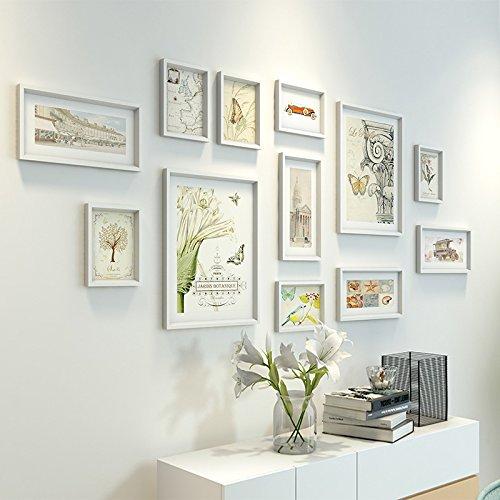 Die trendige Farbe Foto Wand aus massivem Holz Foto wall Frame Wand Sofa im Wohnzimmer Wände weiße Wand.